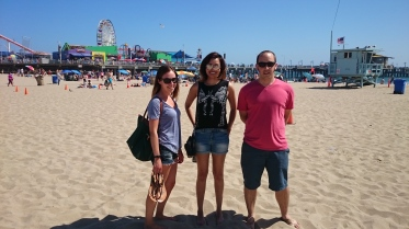 Santa Monica beach during the C. elegans Meeting 2015: Alexandra, Ahilya & Mathieu