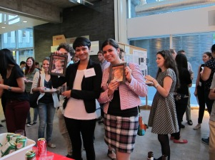 Biochemistry Research Day winners Ahilya and Elite. Both C. elegans posters!