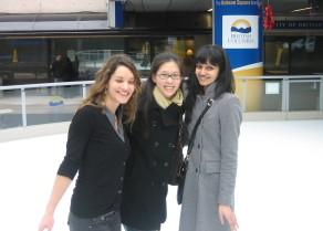 Skating in Vancouver, BC during Keysone 2012 breaks: Caro, Edlyn & Ahilya