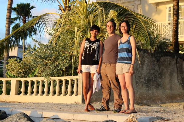 """""""20 years of microRNA Research Meeting"""" Barbados 2014. Ahilya, Mathieu & Edlyn."""