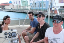 """""""20 years of microRNA Research Meeting"""" Barbados 2014. Fishing trip with Marie Ohman, Marc Fabian, Rene Ketting and Leif Wikstrom."""