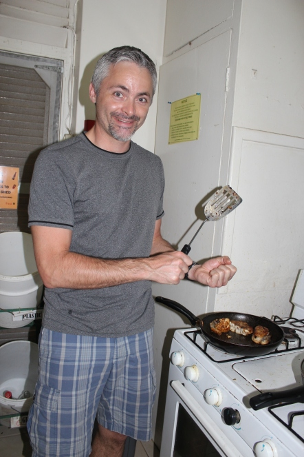 """20 years of microRNA Research Meeting"" Barbados 2014. Thomas cooking up Marc's catch of the day!"