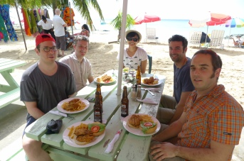 """20 years of microRNA Research Meeting"" Barbados 2014. Paul Butros, Colin Crist, Ahilya, Marc Fabian & Mathieu."