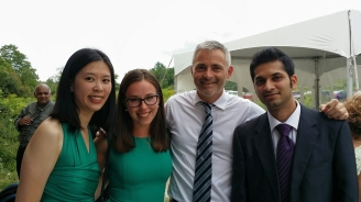 Edlyn, Alexandra, Thomas, and Vinay all dressed up for Ahilya's wedding!