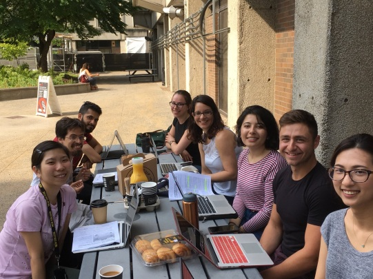 When there's a fire in your building, you have lab meeting outside!